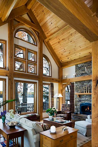 West lake timber frame home great room windows a great Lake house windows