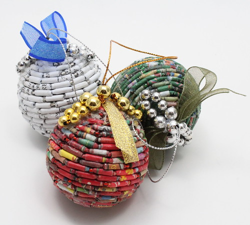 set of recycled Christmas ornaments | Fair trade, handmade ...