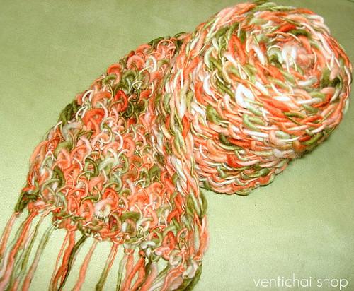 Warm Shades Of Green : Sun kissed melon wool chunky warm knit winter scarf cantal