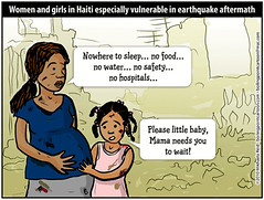 Cartoon: Women and girls in Haiti especially vulnerable in earthquake aftermath | by M1khaela