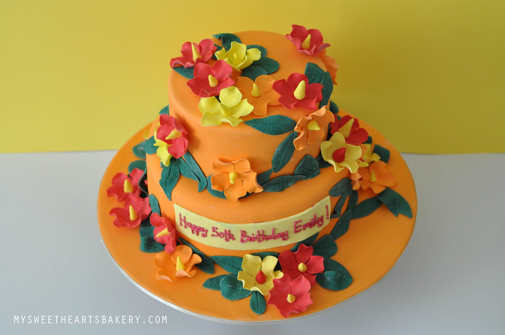Hawaiian Theme 50th Birthday Cake Mysweetheartsbakery Flickr