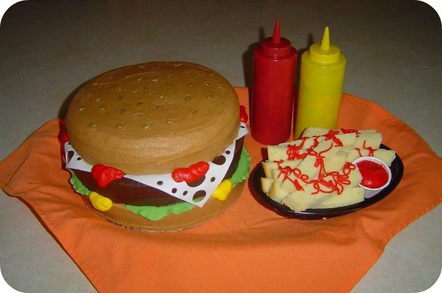 Hamburger and Fries Birthday Cake This cake is for a repea Flickr