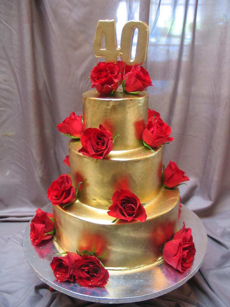 Gold Three Layer Cake