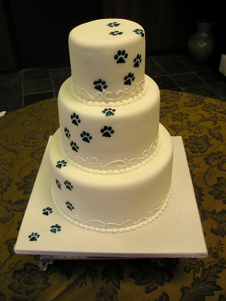 paw prints wedding cake wwwstephaniethebakercom
