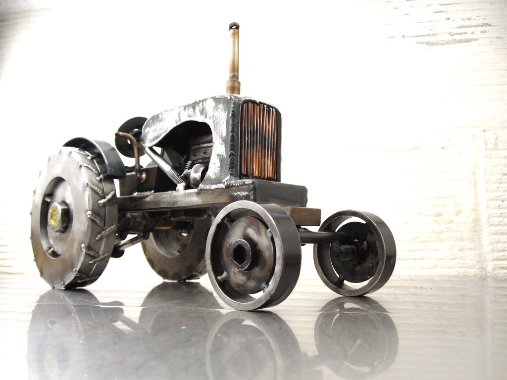 Metal Sculpture Of An Allis Chalmers Tractor By Josh Welto