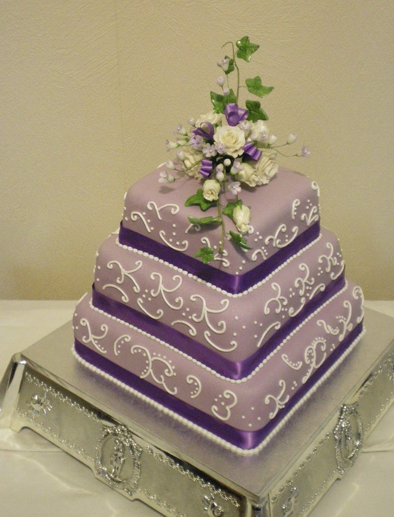 White Square Cake With Purple Icing