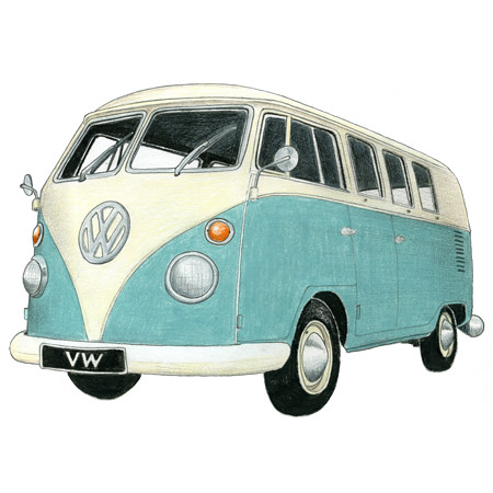 Vw Camper Drawing Limited Edition Print Drawing Of A