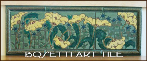 art nouveau tile mural with poppies these poppies were