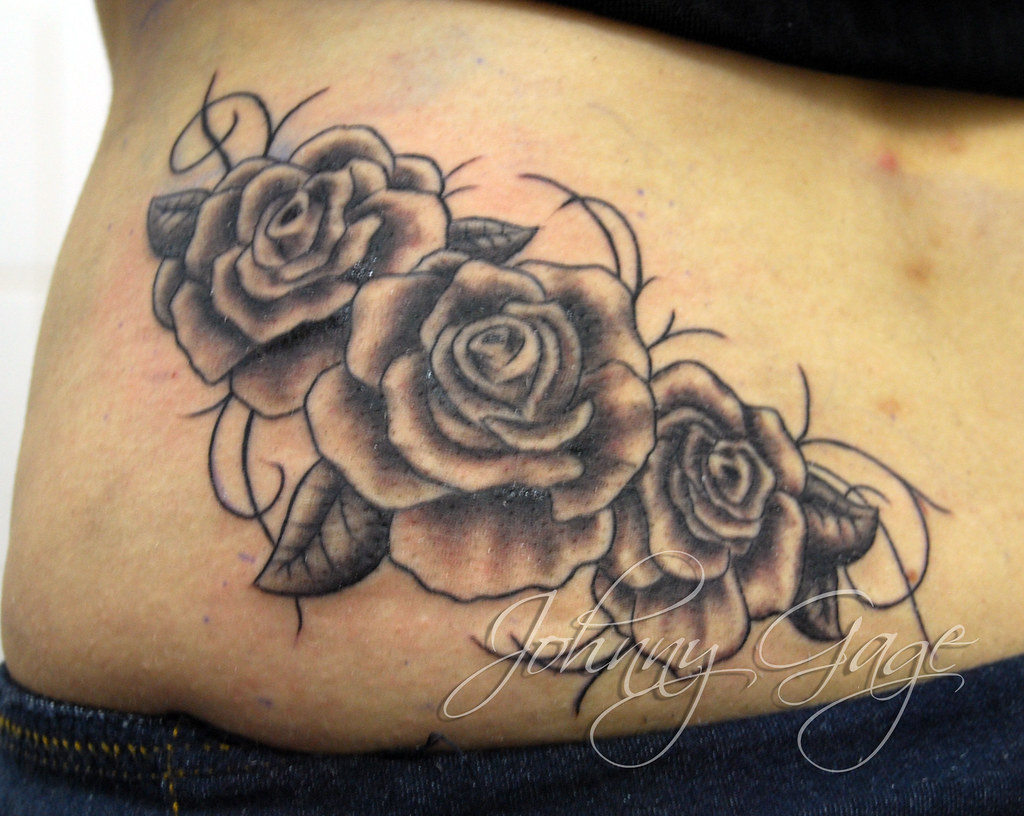 Gaga style roses and vines tattoo tattooed by johnny at for 3 roses tattoo