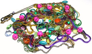 Huge Vintage Multicoloured Multi-chain Necklace with Chandelier Crystals and Bells | by itsalovelycake