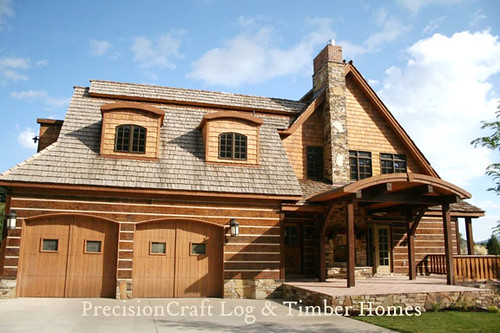 Hybrid log timber home exterior by precisioncraft log for Case cu etaj si garaj