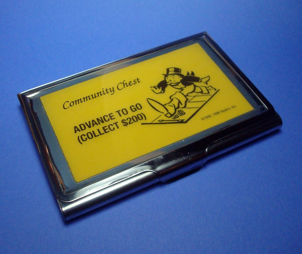 Advance to go business card case collect 200 millie for Go business cards