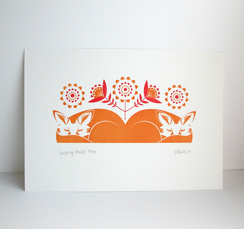 'Sleeping Foxes' Gocco Print | by Dee Beale