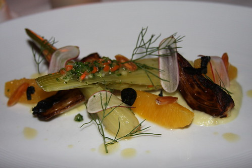 warm fennel salad with navel orange confit, fennel fronds, fennel puree and almonds | by justinbc