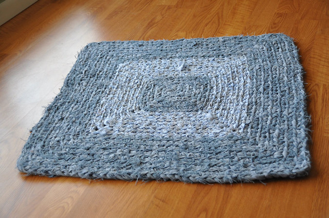 Free Crochet Rectangle Rug Pattern : Blue Square Crochet Rug I crocheted this rug with yarn I ...