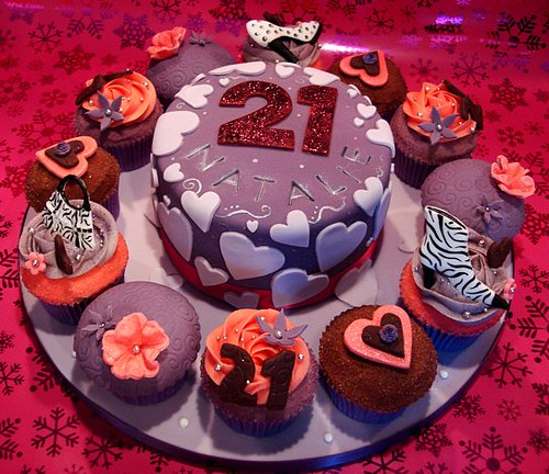 Cupcake Decorating Ideas For 21st Birthday : 21st Birthday Cake & Cupcakes Gorgeous handpainted layer ...