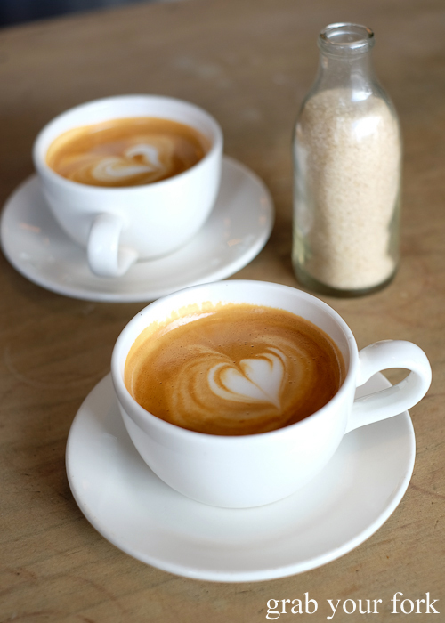 Flat white coffees at Pigeon Hole Bakery in Hobart Tasmania