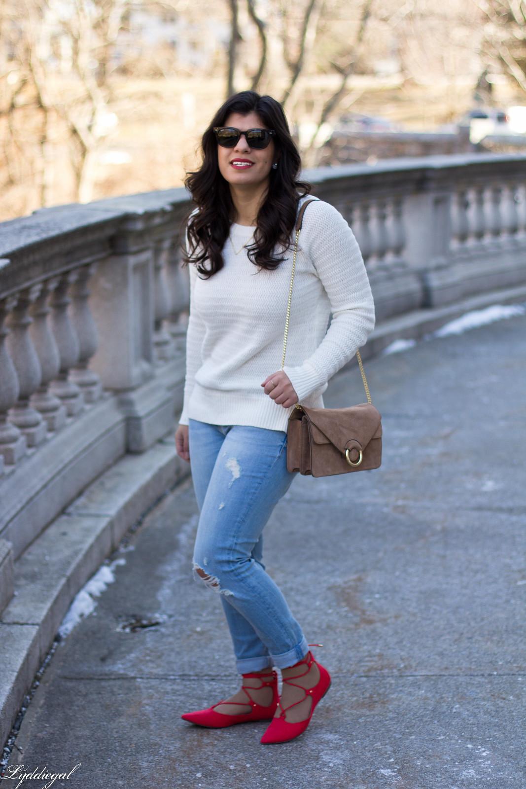 white sweater, distressed denim, laceup flats-2.jpg