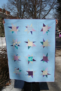 Blue and Violet Wonky Star Quilt | by Mle BB