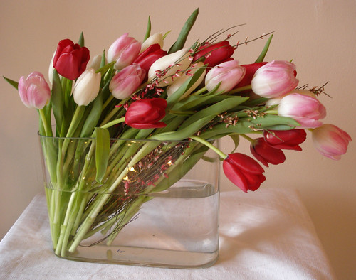 Dramatic draping tulip centerpiece these red white and