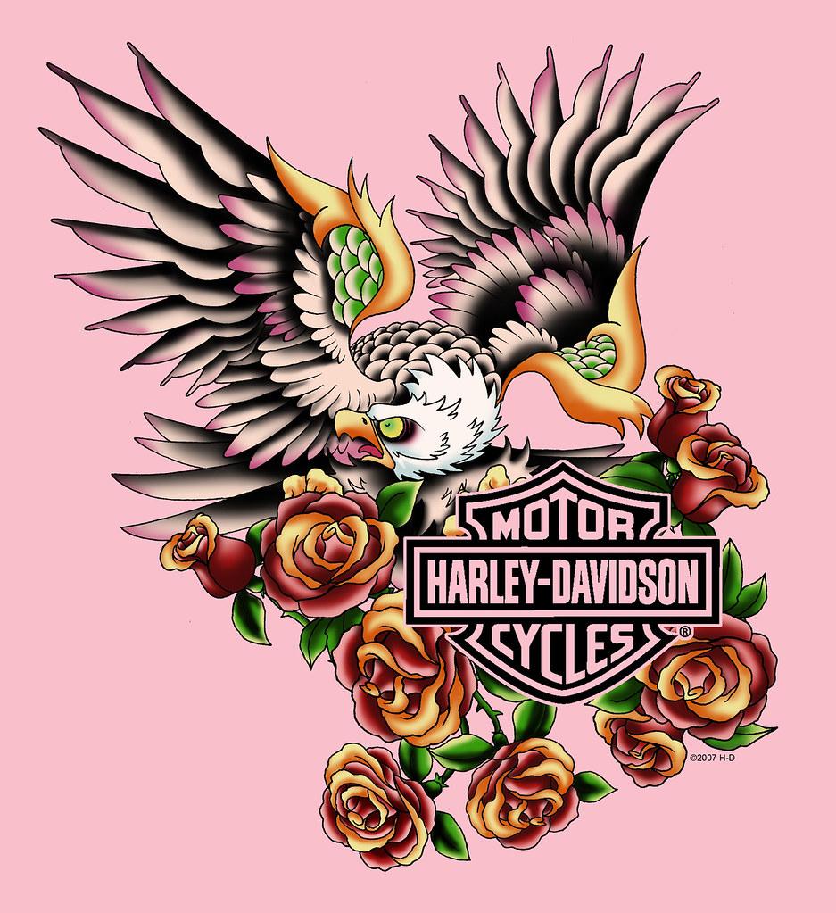 Harley davidson eagle tattoo old tee shirt designs flickr - Old school harley davidson wallpaper ...