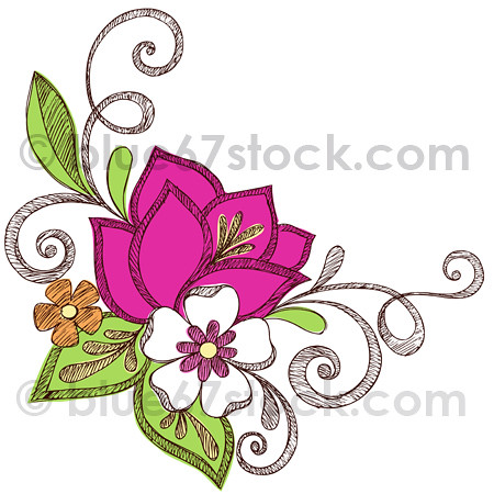 Hand Drawn Sketchy Flowers Notebook Doodle Vector Illustra