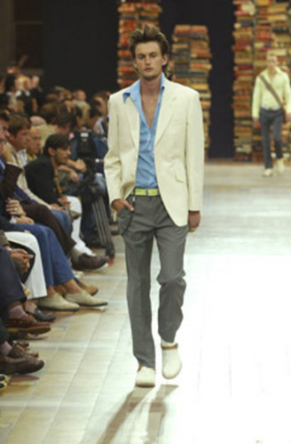 3 Cream And Red Pinstripe Jacket Blue Shirt And Grey Pri