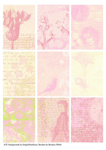 Pink collection, 9 ATC backgrounds, A4 | Pink ATC ... | 354 x 500 jpeg 129kB