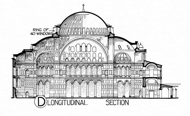 Plan Elevation Section Of Mosque : Hagia sophia section title other