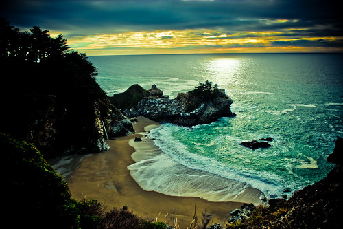 julia pfeiffer burns state park waterfall on beach at sunset | by tibchris