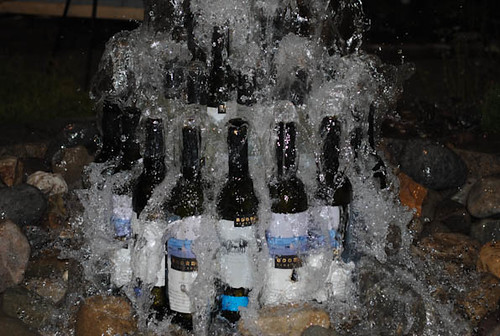 Wine Bottle Fountain Landscaping Display At The