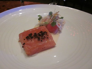 Aziza - San Francisco - June 2011 - Ocean Trout, Curry, Young Almond, Date, Radish, Black Olive | by garyalanfine