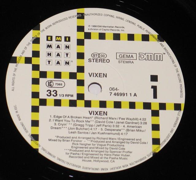 "Vixen S/T Self-titled 12"" vinyL LP"