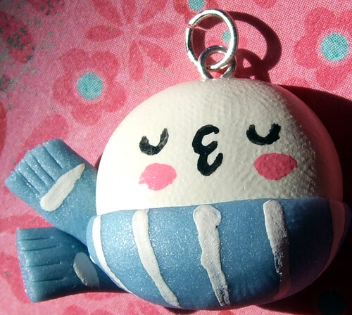 Snowman Snowball Kissy Kawaii Pendant Charm | by The Happy Acorn - Clayworks by Lisa Nowakowski