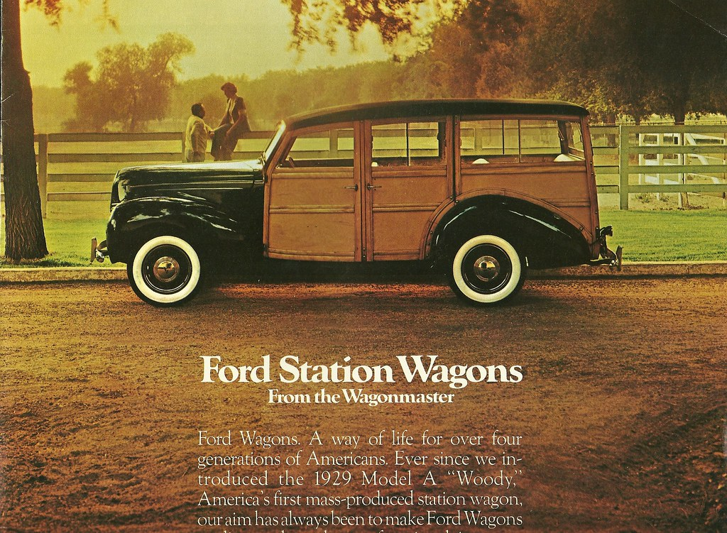 1939 Woodie on the 1976 Ford Wagon Brochure Cover | Ford mat… | Flickr