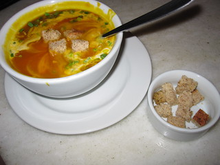 Pumpkin soup with coconut milk and ginger | by veganbackpacker