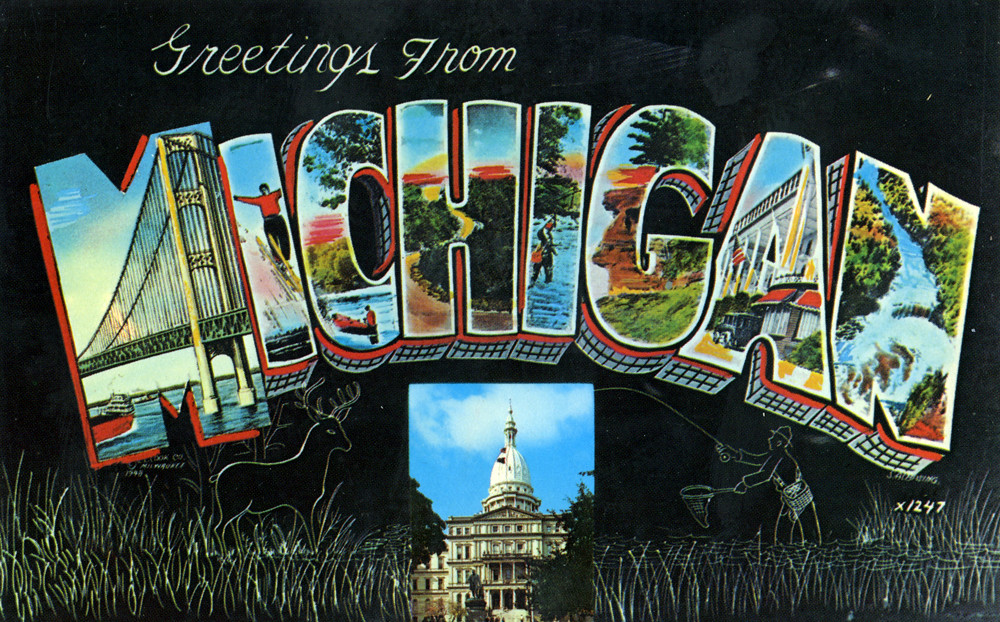 Greetings from michigan large letter postcard production flickr greetings from michigan large letter postcard by shook photos m4hsunfo