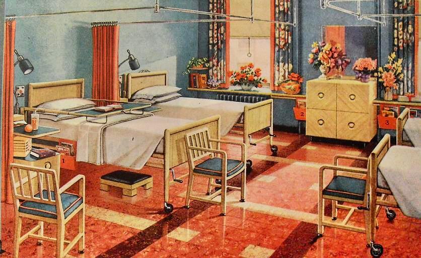 1940s Modern Hospital Flooring Advertisement Vintage Inter ...