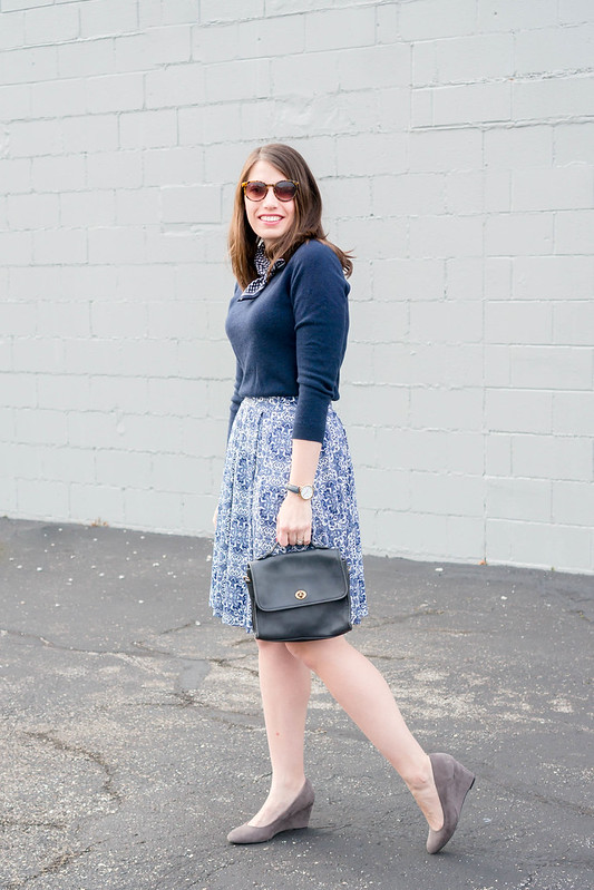 navy cashmere sweater + blue and white lularoe skirt + navy timex watch + gingham scarf; spring work outfit | Style On Target blog