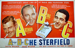 1948 Chesterfield Cigarettes Hollywood Bing Crosby ARTHUR GODFREY Perry Como vintage celebrities smoking illustration advertisement | by Christian Montone