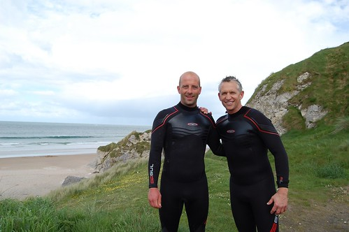 Martin Kelly with Gary Lineker at Whiterocks beach, Co Antrim | by tksurfschool