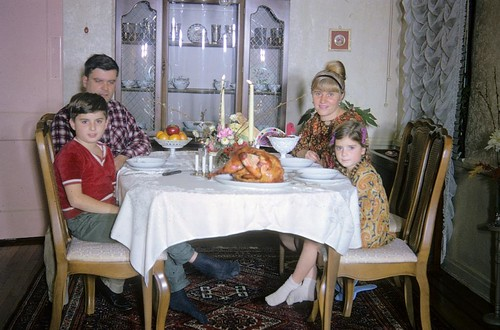 Yes, the turkey gives it away. Thanksgiving with Dad, Mom and my sister in 1968 | by wavz13