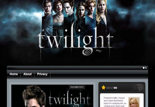 free wordpress twilight movie black theme template flickr. Black Bedroom Furniture Sets. Home Design Ideas