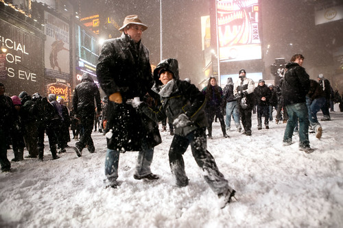 Snowball fight in Times Square, Manhattan, New York | by Dan Nguyen @ New York City