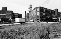 Historic photo from Thursday, May 5, 1983 - Looking west along E Liberty St to the Irwin Toys building on Hanna Ave (now the Toy Factory Lofts) in Liberty Village