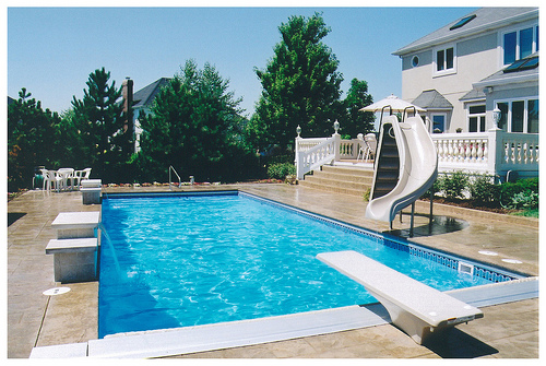 rectangle pool with water features and water slide by elite pools - Rectangle Pool With Water Feature