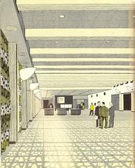 The Exhibition Hall, London Heathrow Airport - illustration by Gordon Cullen - 1956