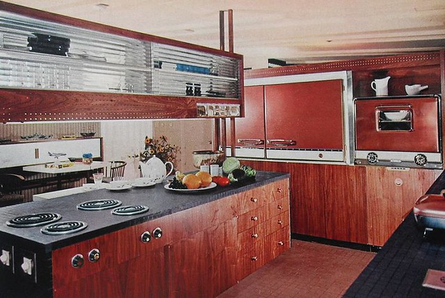 1960s Kitchen Modern Woodgrain Glass Vintage Interior Desi ...