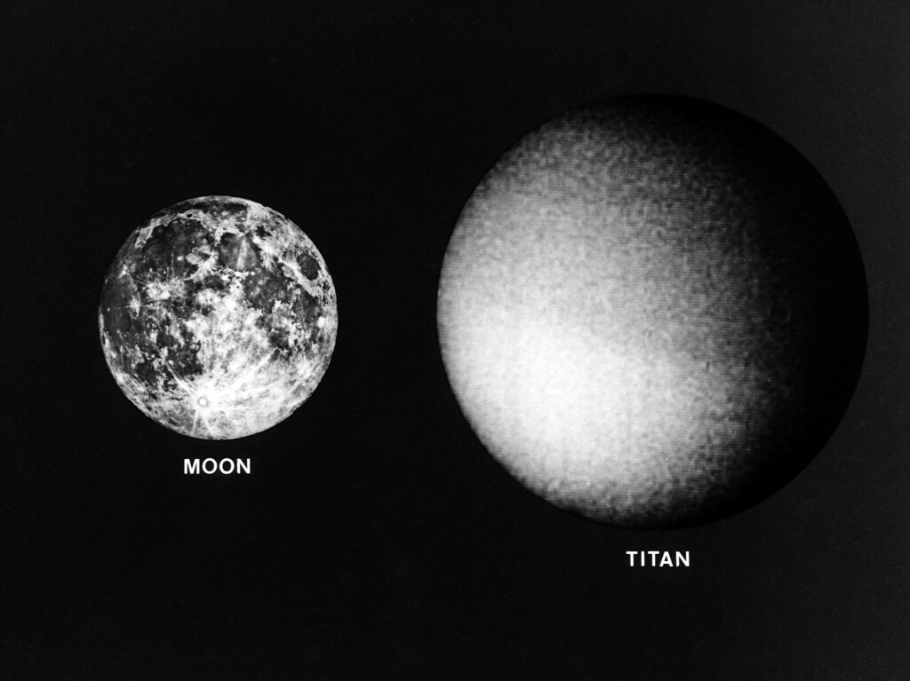 Titan And The Earth S Moon Saturn S Moon Titan And The