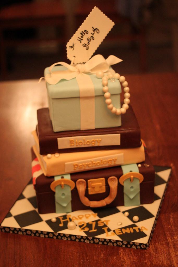 21st Birthday Cake Bottom Tier Is Vanilla Cake Filled